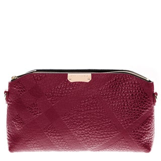 Burberry Small Rose Embossed Check Leather Clutch Bag