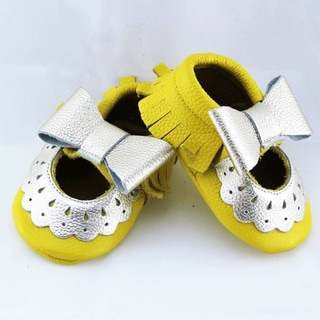 Genuine Leather Yellow Mary Jane Baby/ Toddler Moccasin 18-24 Month Shoes