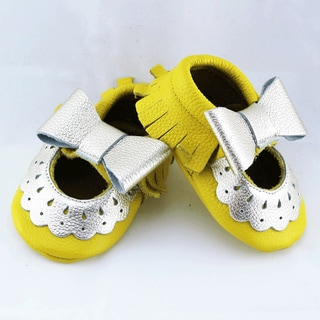 Genuine Leather Yellow Mary Jane Baby/ Toddler Moccasin 6-12 Month Shoes