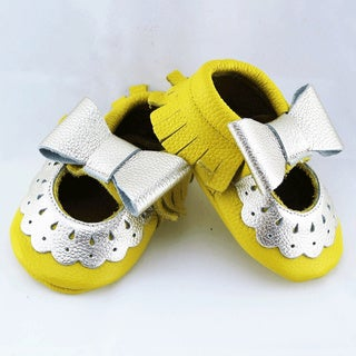 Genuine Leather Yellow Mary Jane Baby/ Toddler Moccasin 0-3 Month Shoes