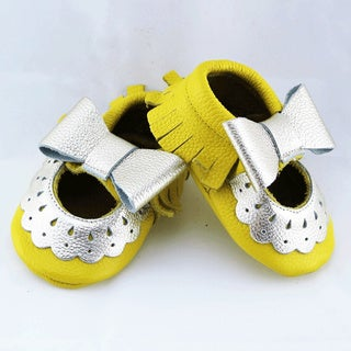 Genuine Leather Yellow Mary Jane Baby/ Toddler Moccasin 12 - 18 Month Shoes