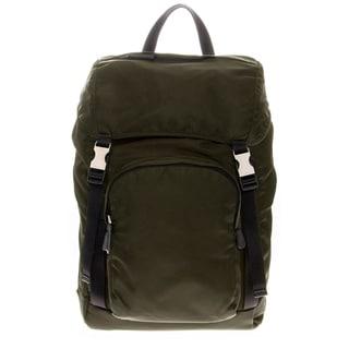 Prada Green Nylon Double Snap Buckle Backpack
