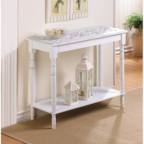 Elizabeth Carved White Console Table
