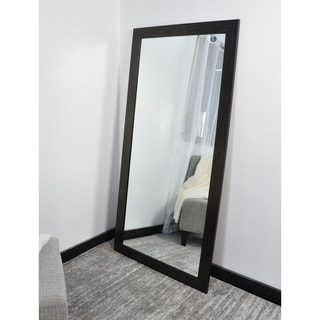 BrandtWorks USA Scratched Black 32 x 71-inch Tall Mirror - Black/Silver
