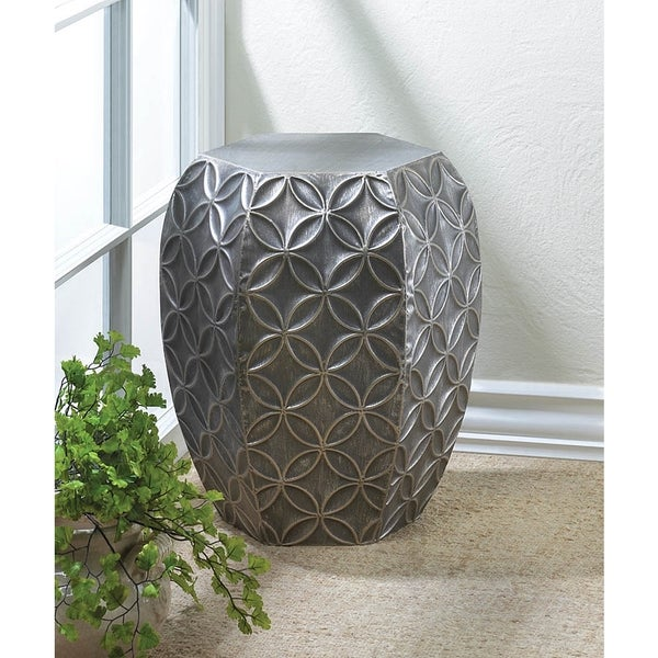 Textured Silver Metalic Stool