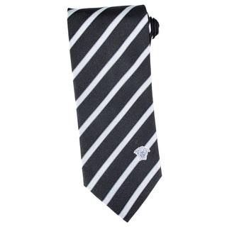 Versace 100-percent Italian Silk Black, Grey Neck Tie