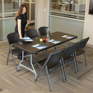 Black 6-foot Stacking Table and Chair Combo