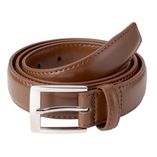 Sportoli Men's Classic Stitched Genuine Leather Buckle Dress Uniform Waist Belt