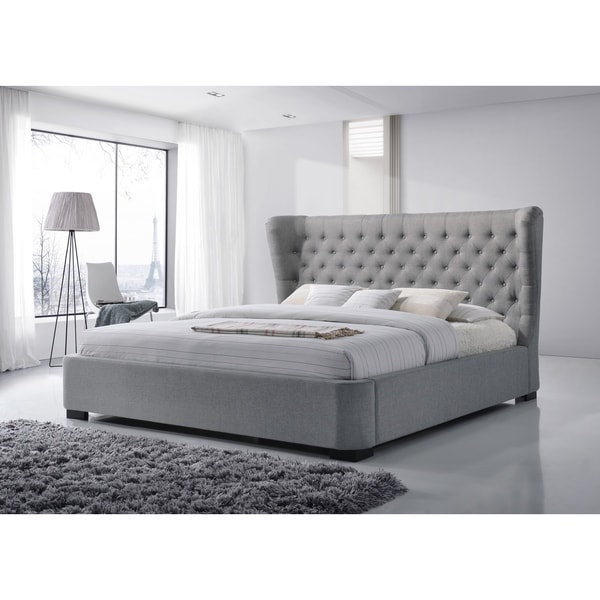 Manchester King Size Tufted Wing Upholstered Greyplatform Bed Free
