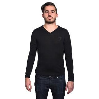 Versace Collection Men's Medusa Head Black V-Neck Sweater