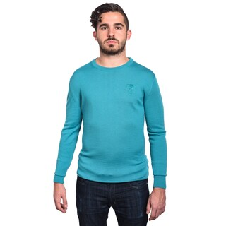 Versace Collection Men's Turquoise Wool Medusa Head Crew Neck Sweater
