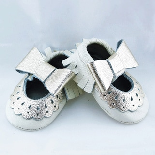 Genuine Leather White Mary Jane Baby/ Toddler Moccasin 6-12 Month Shoes