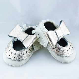 Genuine Leather White Mary Jane Baby/ Toddler Moccasin 0-3 Month Shoes