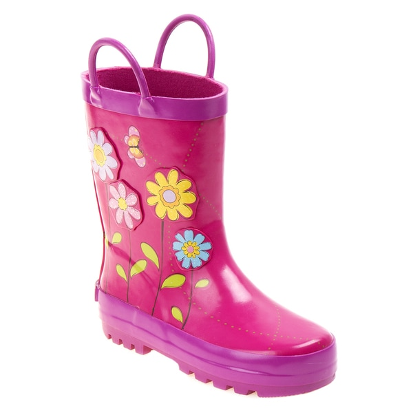 Laura Ashley Girls' Pink/ Multicolor Flower Rain Boots
