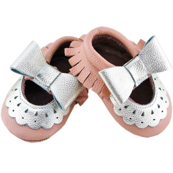 Genuine Leather Peach Mary Jane Baby/ Toddler Moccasin 3-6 Month Shoes