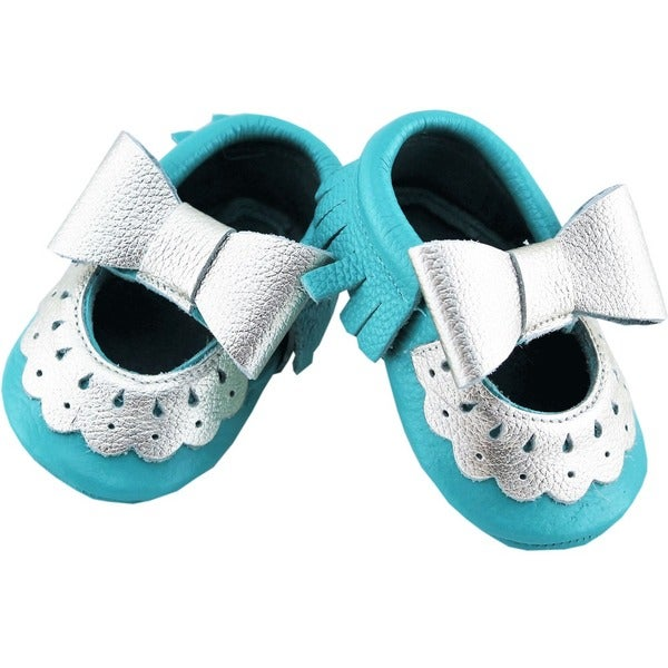 Genuine Leather Teal Blue Mary Jane Baby/ Toddler Moccasin 0-3 Month Shoes