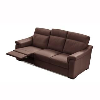 Ilaria Chocolate Italian Leather Dual Reclining Sofa