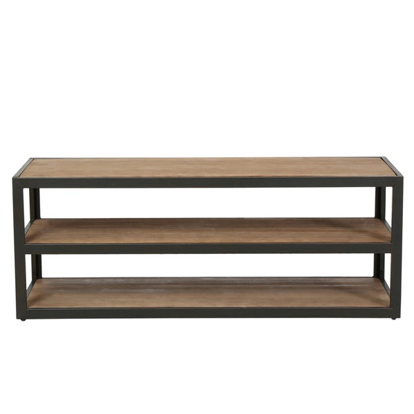 christopher knight home perth 3 shelf industrial entertainment tv console stand with shelf. Black Bedroom Furniture Sets. Home Design Ideas