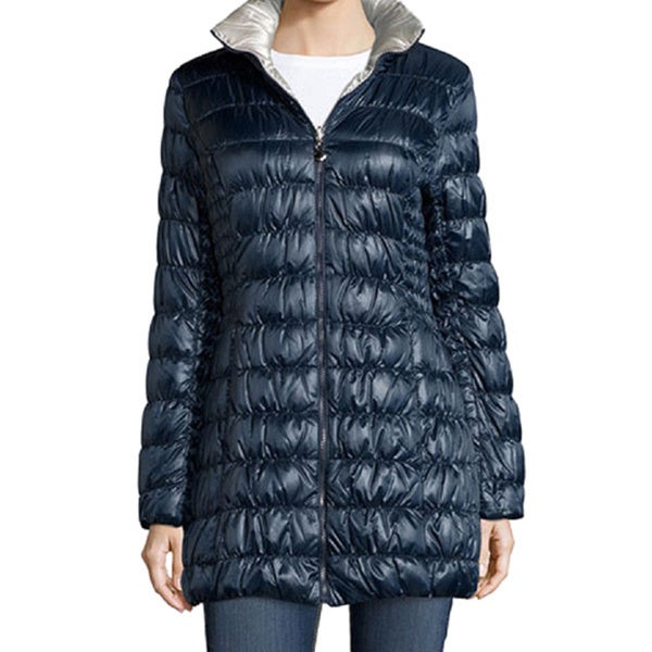 Laundry by Shelli Segal Navy Pewter Reversible Packable Coat