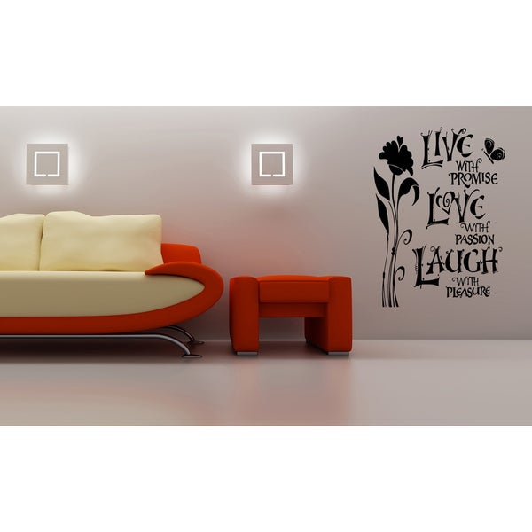 Live Laugh Love quote Beautiful flower Wall Art Sticker Decal