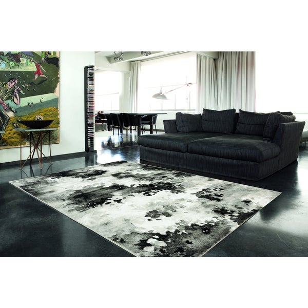 Plait Black/ Grey Airbrush Rug (3'11 x 5'7)