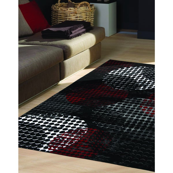 Plait Industrial Red Black Crate Rug (2'8 x 4'11)