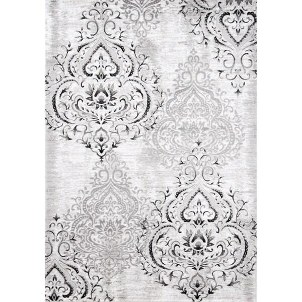 Plait Venetian Silver Damask Rug (2'8 x 4'11)