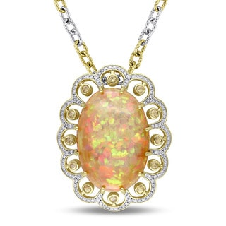 Miadora Signature Collection 14k Yellow Gold Ethiopian Opal Yellow Sapphire and 1/2ct TDW Diamond Flower Necklace (G-H, SI1-SI2)