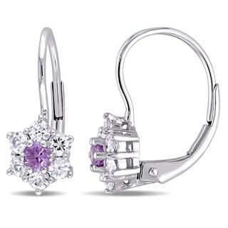 Miadora 10k White Gold Created Alexandrite and White Sapphire Star Leverback Earrings