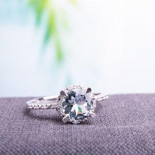 Miadora 10k White Gold Aquamarine and Diamond Accent Halo Ring