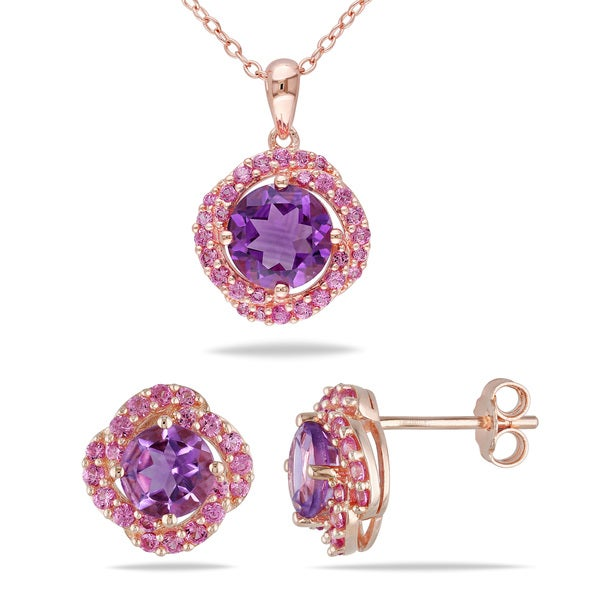 Miadora Rose Plated Sterling Silver Amethyst and Created Pink Sapphire Flower Necklace and Stud Earrings Jewelry Set 17723231