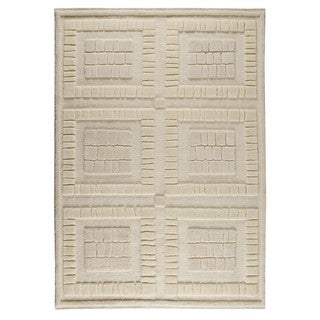 Indian Hand-knotted Bergamo White Rug (9' x 12')