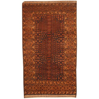 Herat Oriental Afghan Hand-knotted 1970s Semi-antique Tribal Balouchi Navy/ Tan Wool Rug (2'9 x 5')