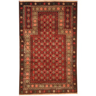 Herat Oriental Afghan Hand-knotted 1970s Semi-antique Tribal Balouchi Red/ Black Wool Rug (2'10 x 4'7)