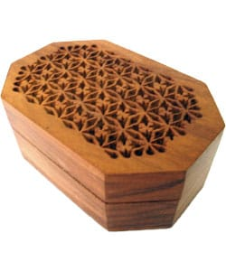 Hand-carved Rosewood Jewelry Box (India)