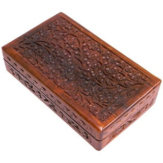 Rosewood Hand Carved Box (India)