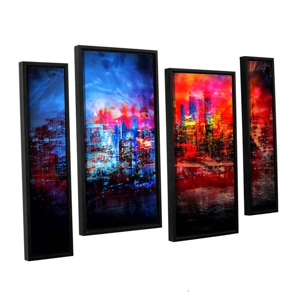 ArtWall Niel Hemsley's A Tale Of Two Cities 4-piece Floater Framed Canvas Staggered Set