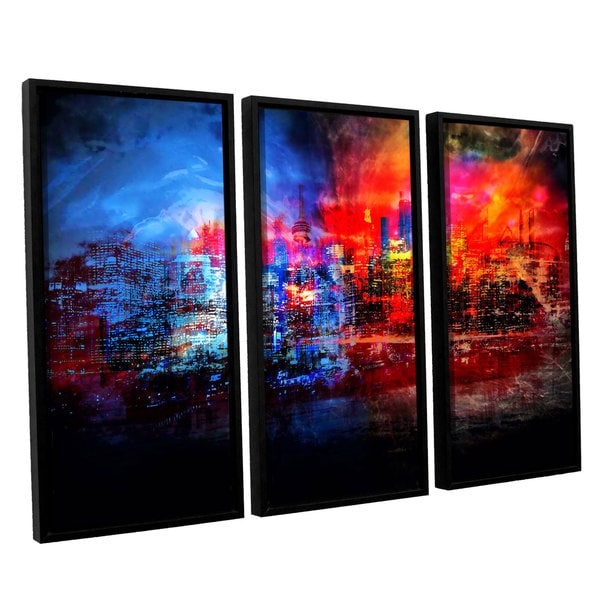 ArtWall Niel Hemsley's A Tale Of Two Cities 3-piece Floater Framed Canvas Set
