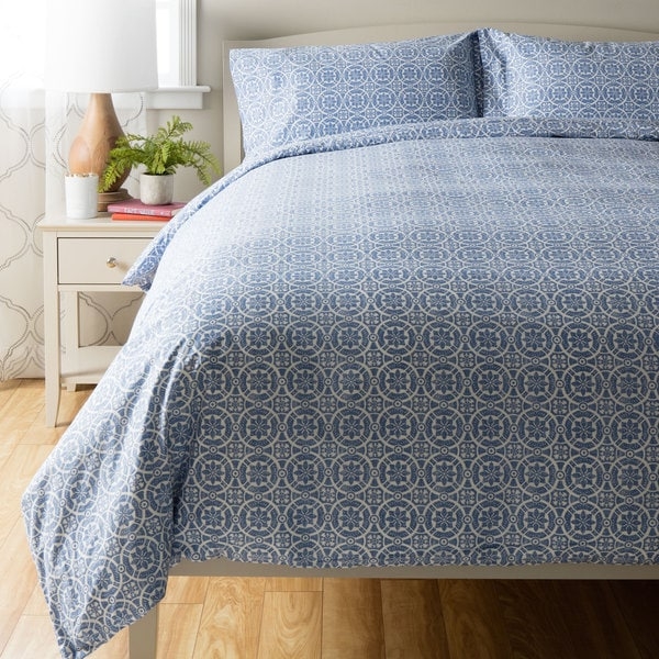Mosaic Blue Print Duvet Cover Set 17728542