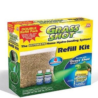 Grass Shot Refill Kit Seed Blend and 2 Bottles of Green Liquid Formula