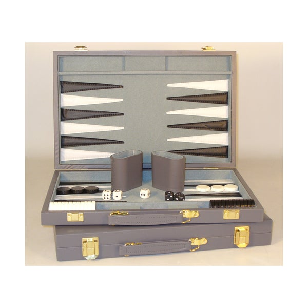 15-inch Grey Vinyl Backgammon Set