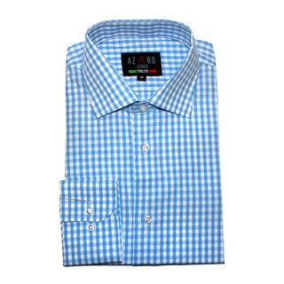 Azaro Uomo Sky Plaid Button Down