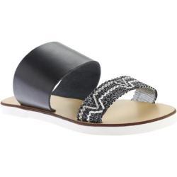 Women's Charles David Gia Sandal Black Leather/Woven Smooth