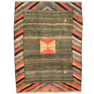 Herat Oriental Persian Hand-knotted Tribal Gabbeh Rust/ Beige Wool Rug (7'5 x 9'8)