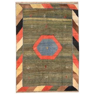 Herat Oriental Persian Hand-knotted Gabbeh Light Blue/ Rust Wool Rug (7' x 9'10)
