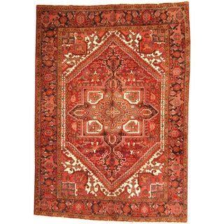 Herat Oriental Persian Hand-knotted 1960s Semi-antique Tribal Heriz Red/ Black Wool Rug (6'9 x 9'7)