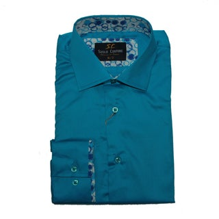Suslo Couture Men's Stredo Turquoise Button Down