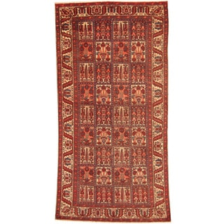 Herat Oriental Persian Hand-knotted 1940s Semi-antique Tribal Bakhtiari Red/ Ivory Wool Rug (5' x 10')