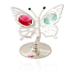 Silverplated Highly Polished Engaging Butterfly Table Top Made with Genuine Colorful Matashi Crystals