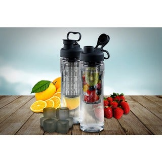 Fruit Infuser Tritan 28 oz. Water Bottle with Reusable Ice Cubes